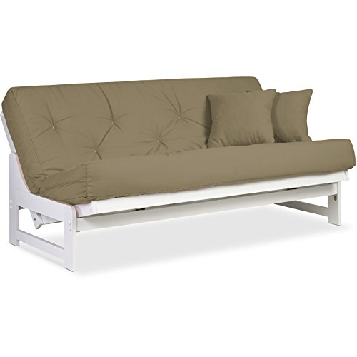 Arden Armless White Wood Futon Frame Full or Queen Size ...